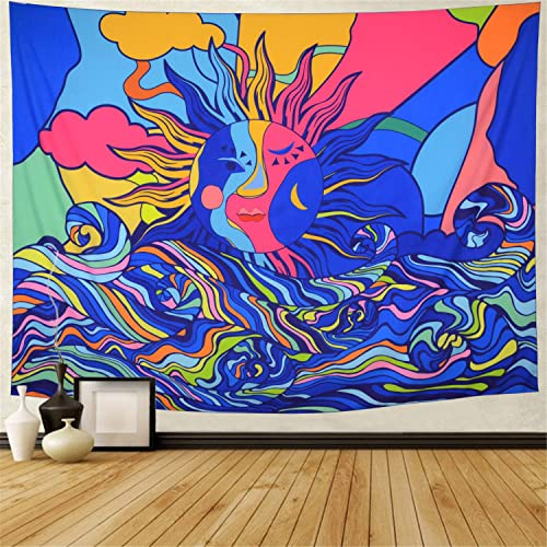 Ameyahud Sun and Wave Tapestry Psychedelic Sun Tapestry Colorful Trippy Wave Tapestries Abstract Hippie Tapestry Wall Hanging for Living Room XL 70.8 x 92.5 , Sun Waves