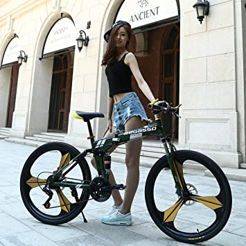 b99417307c4 26 Inch Folding Mountain Bike 21 Speed Double Damping 6/10 Knife Wheel And 3