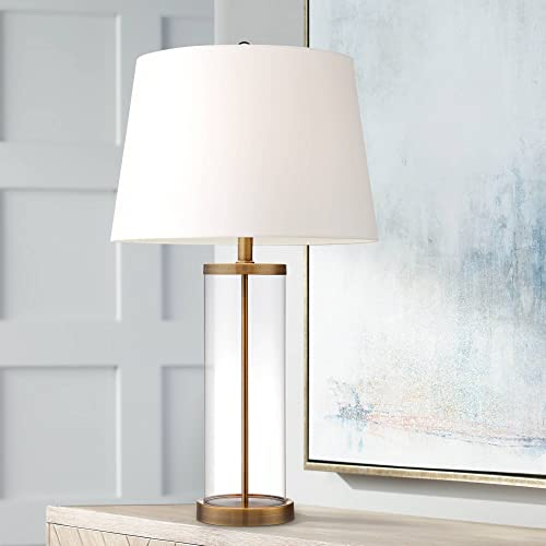 Modern Coastal Table Lamp Fillable Clear Glass Cylinder Gold Metal White Drum Ball Shade Decor