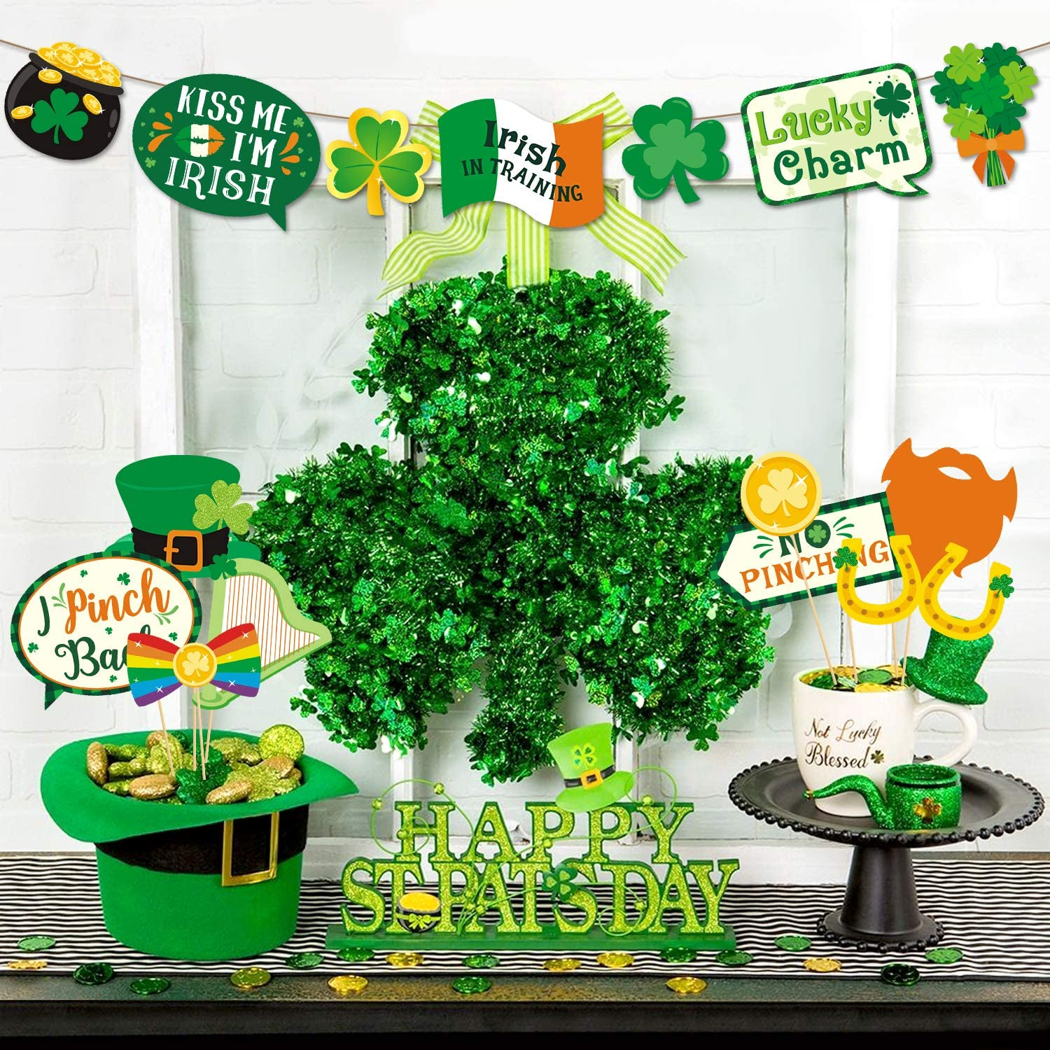 47PCS St Patrick's Day Photo Booth Props Saint Paddy's Day Party ...