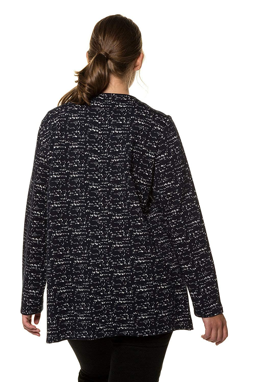 Ulla Popken Womens Plus Size Eco Cotton Jacquard Sweatshirt Jacket 719494