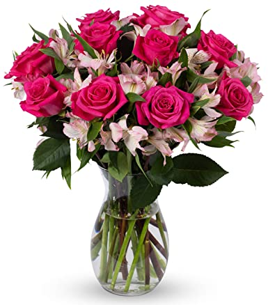 Amazon Com Benchmark Bouquets Charming Roses And Alstroemeria