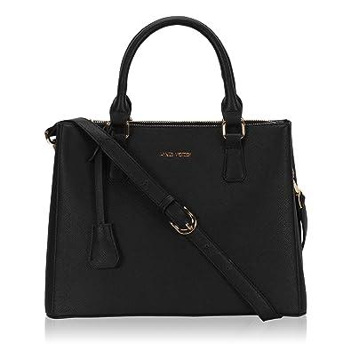 Hynes Victory Womens Classy Satchel Handbag (Black): Handbags ...