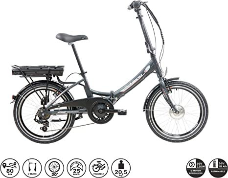 F.lli Schiano E- Star Bicicleta eléctrica, Adultos Unisex, Antracita, 20