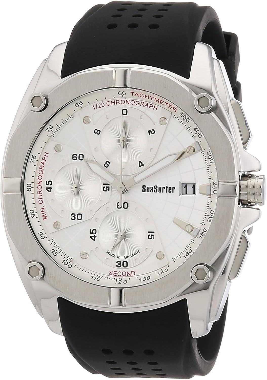 Sea Surfer 1653,4011 - Reloj analógico de Cuarzo para Hombre, Correa de Cuero Color Negro (cronómetro)