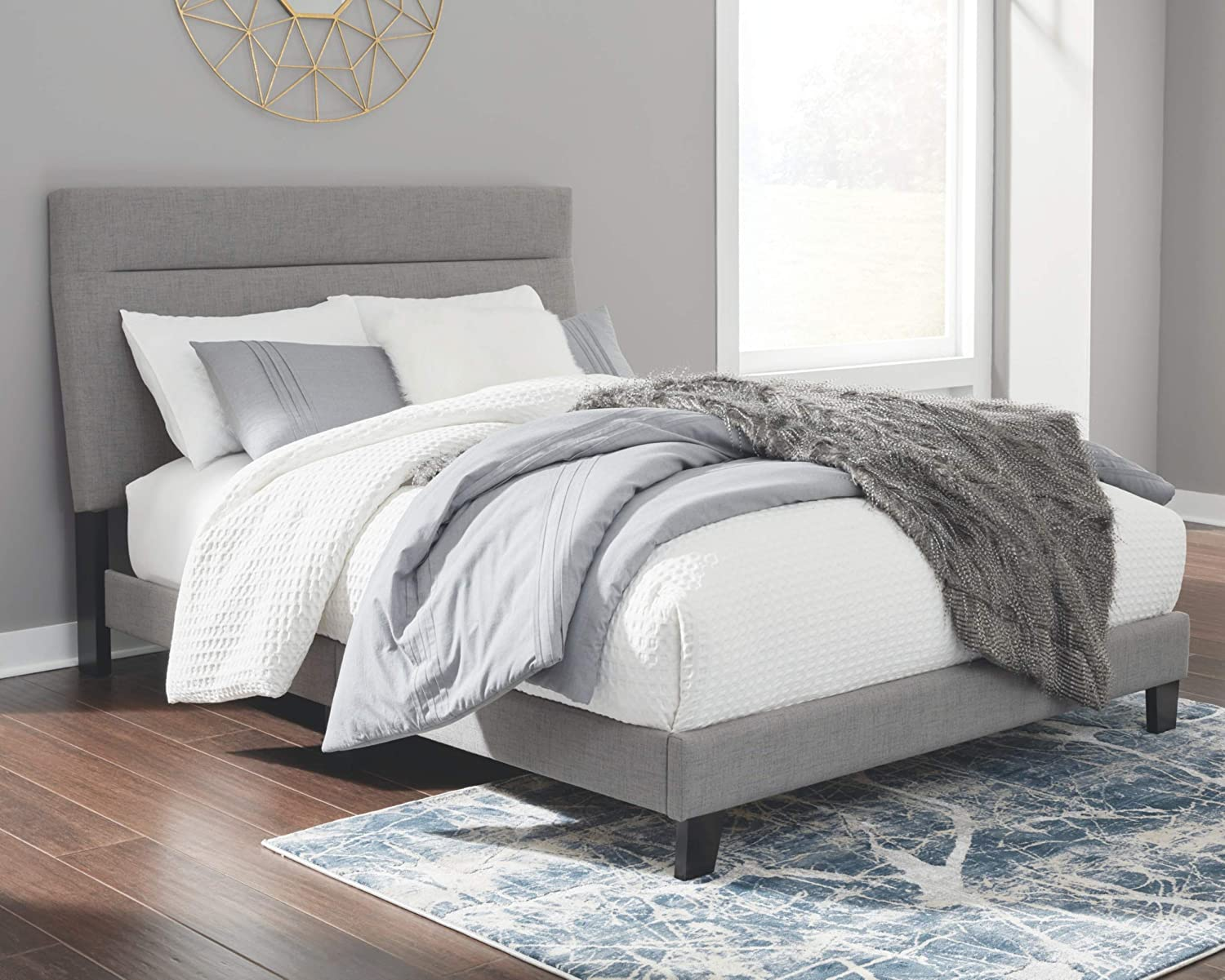 Signature Design by Ashley Adelloni Adjustable Bed, King, Solid Gray