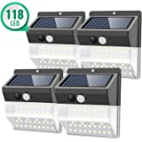 Lifeholder 118LED センサーライト ソーラーライト 屋外 人感センサー付き 太陽光発電 夜間自動点灯 IP65防水 玄関先/庭/駐車場 取付簡単 街灯 ガーデンライト 防犯ライト