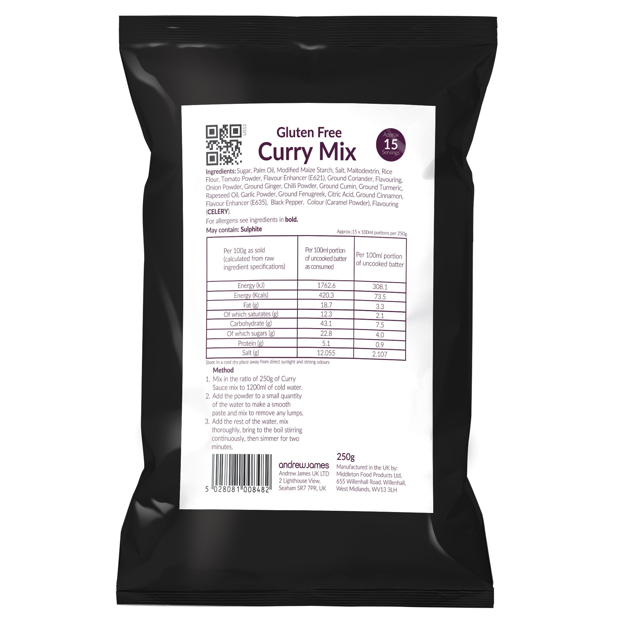 Andrew James Gluten Free Curry Sauce Mix | Make Delicious Gluten Free Chip Shop Curry Dip | Easy to Make | 250g