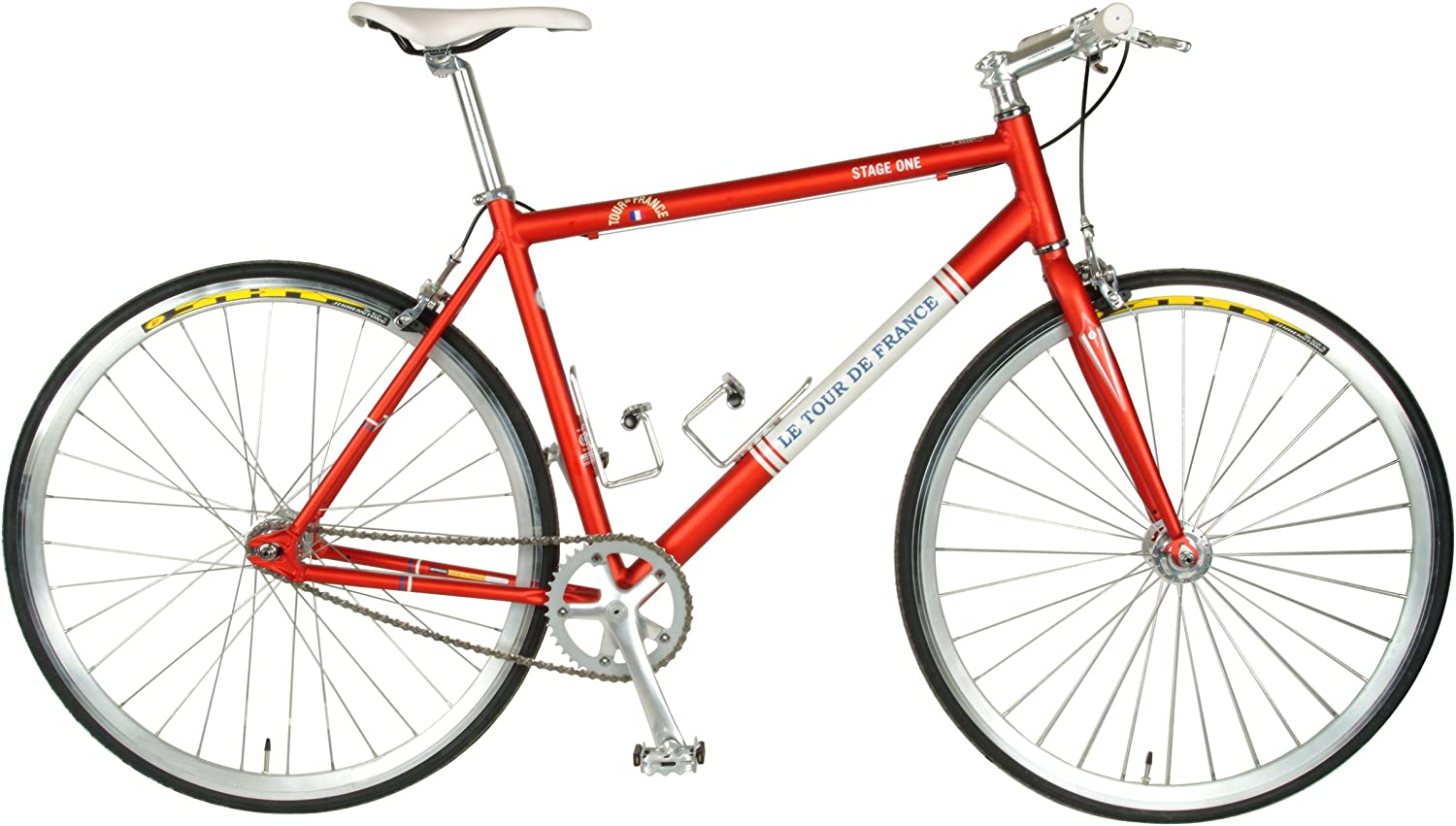 Tour de France Stage One Vintage Fixie Bike, 700c Wheels, Men s Bike, Red, 45 cm Frame, 51 cm Frame, 56 cm Frame