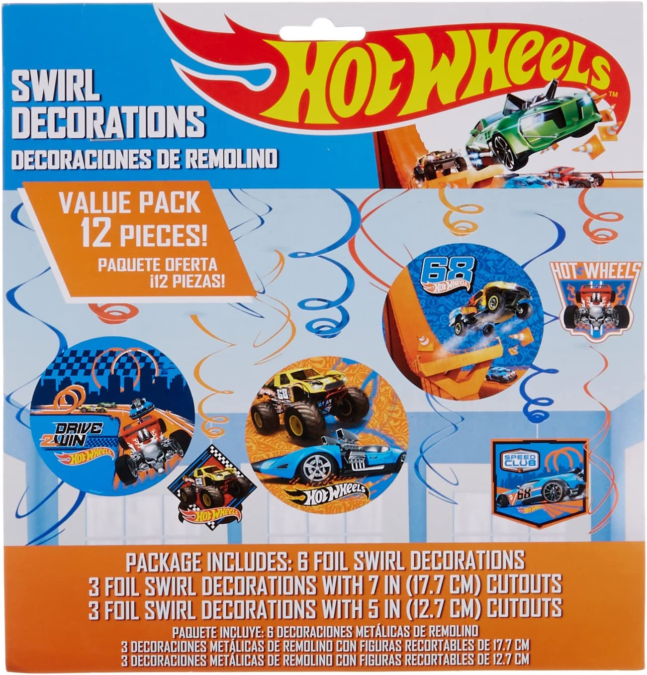 """Amscan 670496 Hot Wheels Wild Racer Foil Swirl Value Pack Decorations, Party Favor 7"""" 12 ct"""