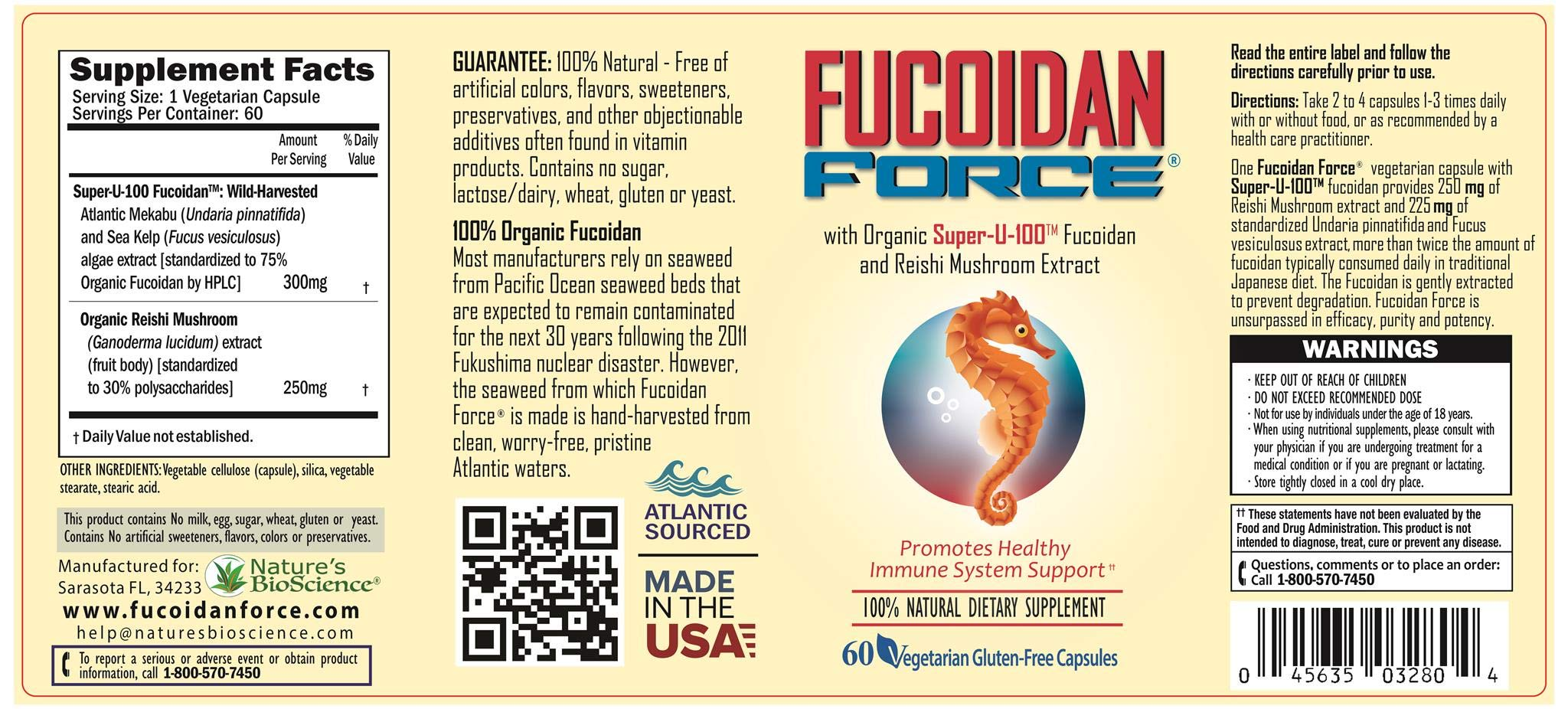 FUCOIDAN FORCE® 6 Bottles Pack (4+2 Free) #1 FUCOIDAN Supplement in The World, Made in USA - Formulated for Maximum Power & Benefits