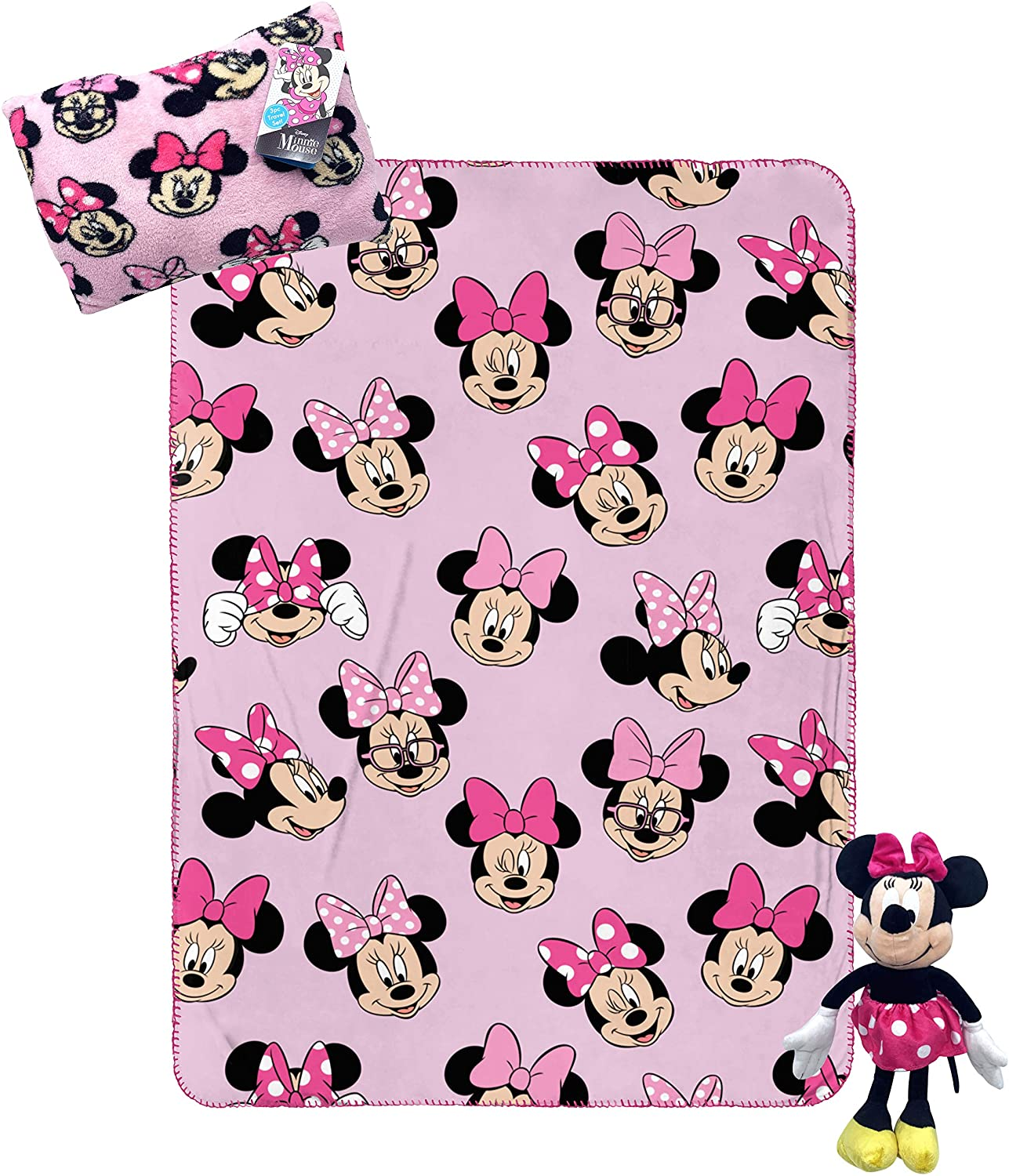 Jay Franco Disney Minnie Mouse Knit Pillow Buddy and Sleeing Bag Bundle