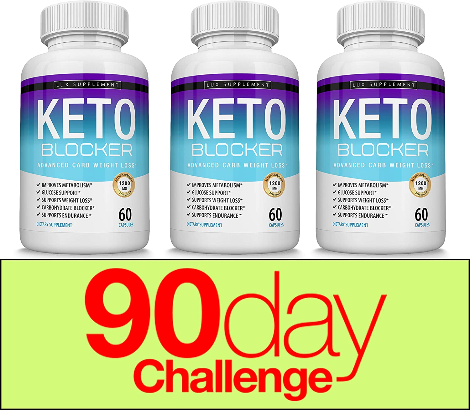 Keto Blocker Pills Advanced Carb Weight Loss 1200 mg Natural Ketosis Fat Burner for ketogenic Diet, Suppress Appetite Cravings, Boost Metabolism, Effective Men Women, 60 Capsules, Lux Supplement