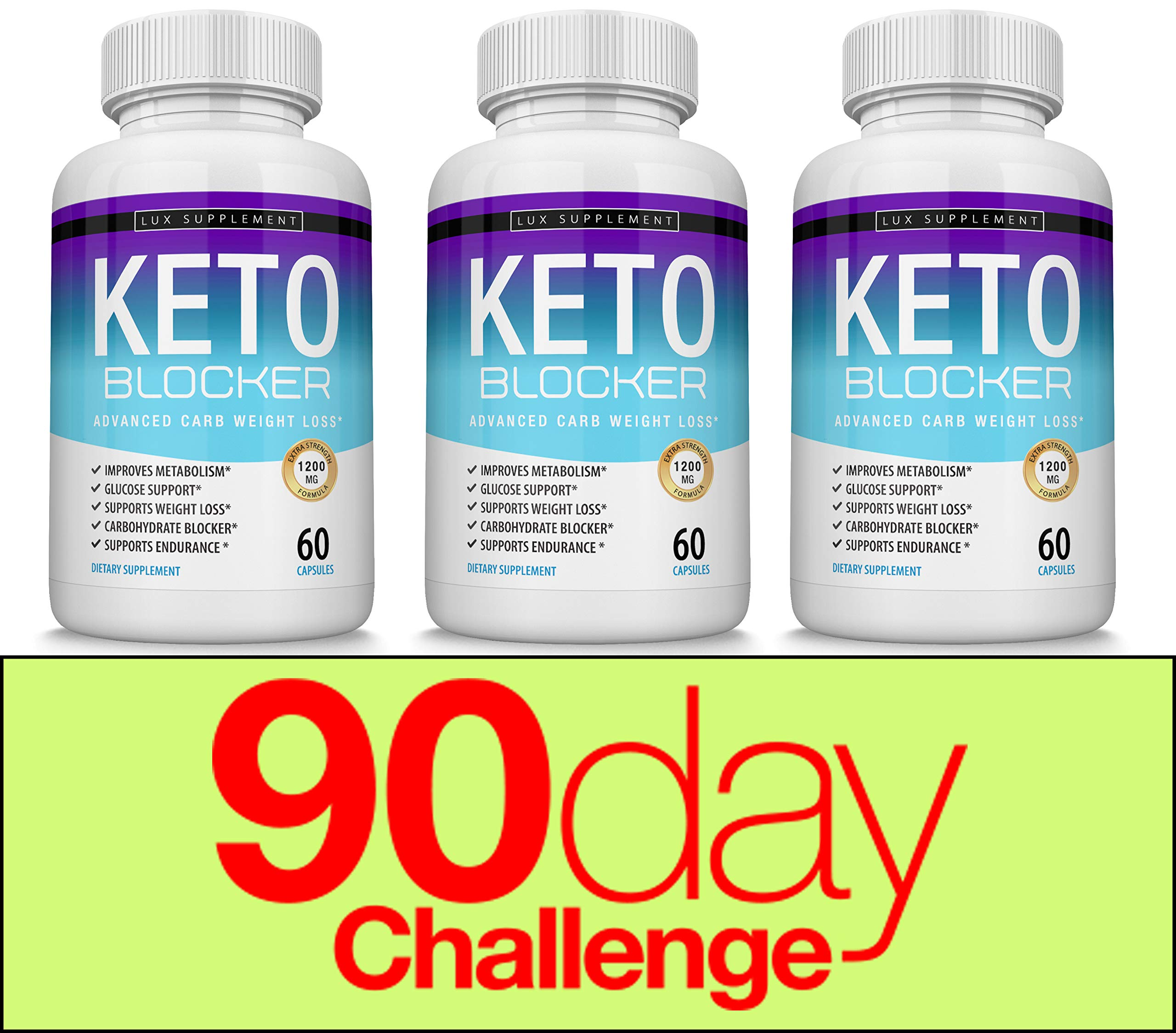 Keto Blocker Pills Advanced Carb Weight Loss - 1200 mg Natural Ketosis Fat Burner for ketogenic Diet, Suppress Appetite & Cravings, Boost Metabolism, Effective Men Women, 60 Capsules, Lux Supplement by Lux Supplement