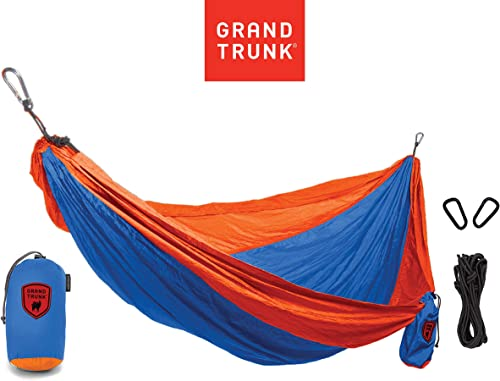 GRAND TRUNK Print Hammock – Double Hammock for Indoor and Outdoor Adventures, Camping, Hiking, and The Beach – Tree Hanging Kit Included, Two-Toned Colors Blue and Orange