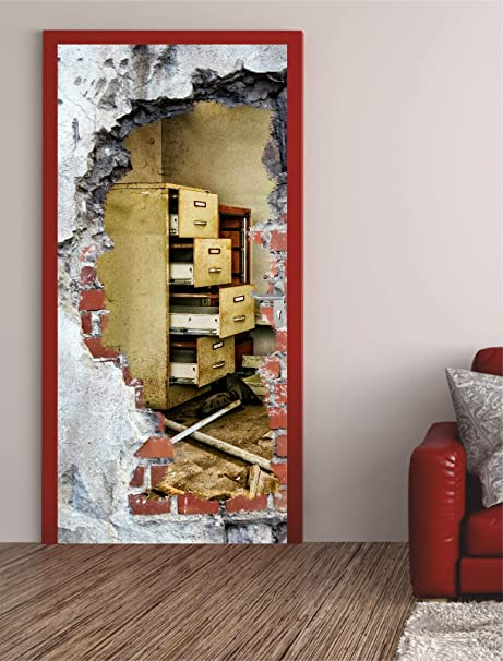 Carta da parati adesiva per porte decorate con foro muro 87 x 200 cm ...