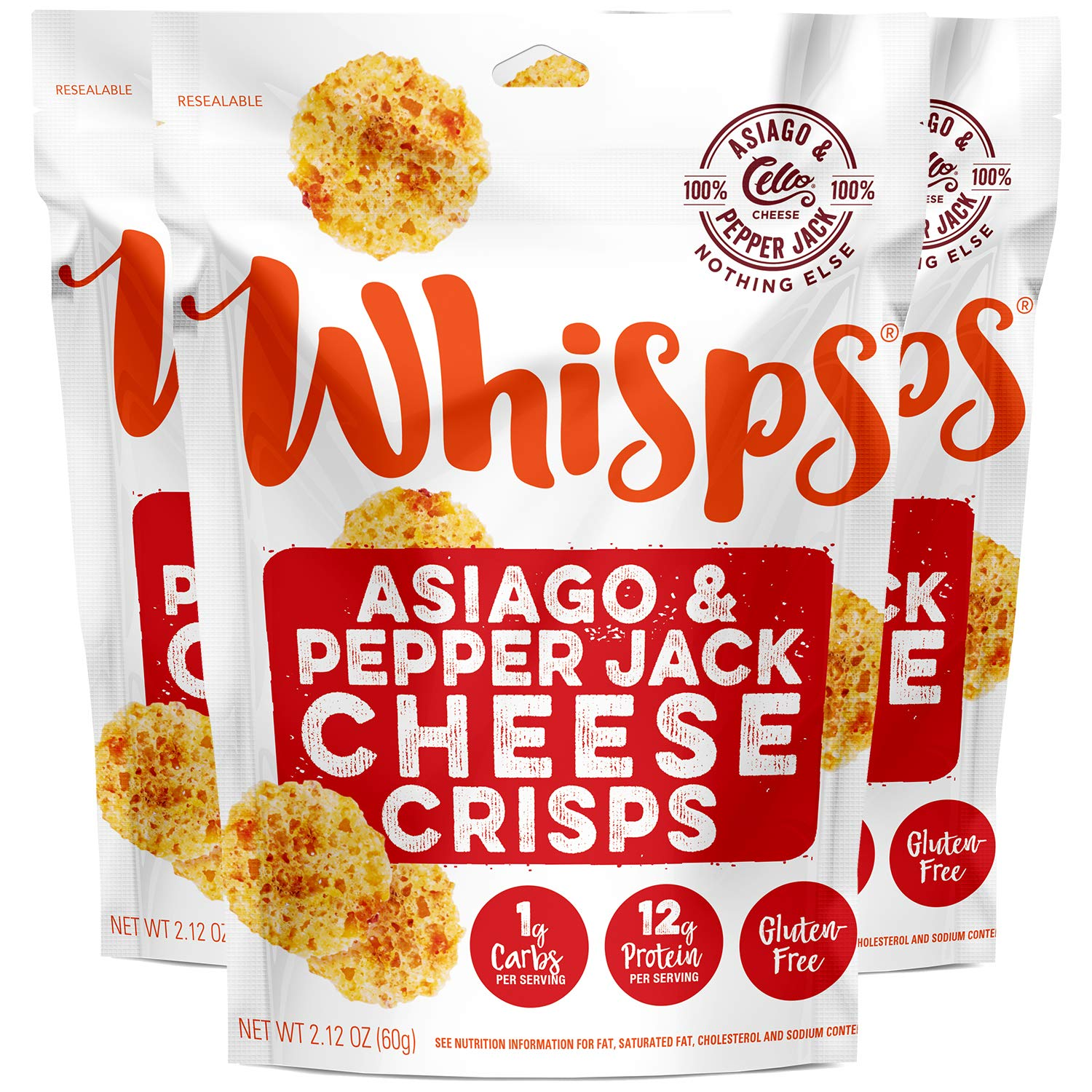 Whisps Asiago & Pepper Jack Cheese Crisps | Keto Snack, Gluten Free, Sugar Free, Low Carb, High Protein | 2.12oz (3 Pack)