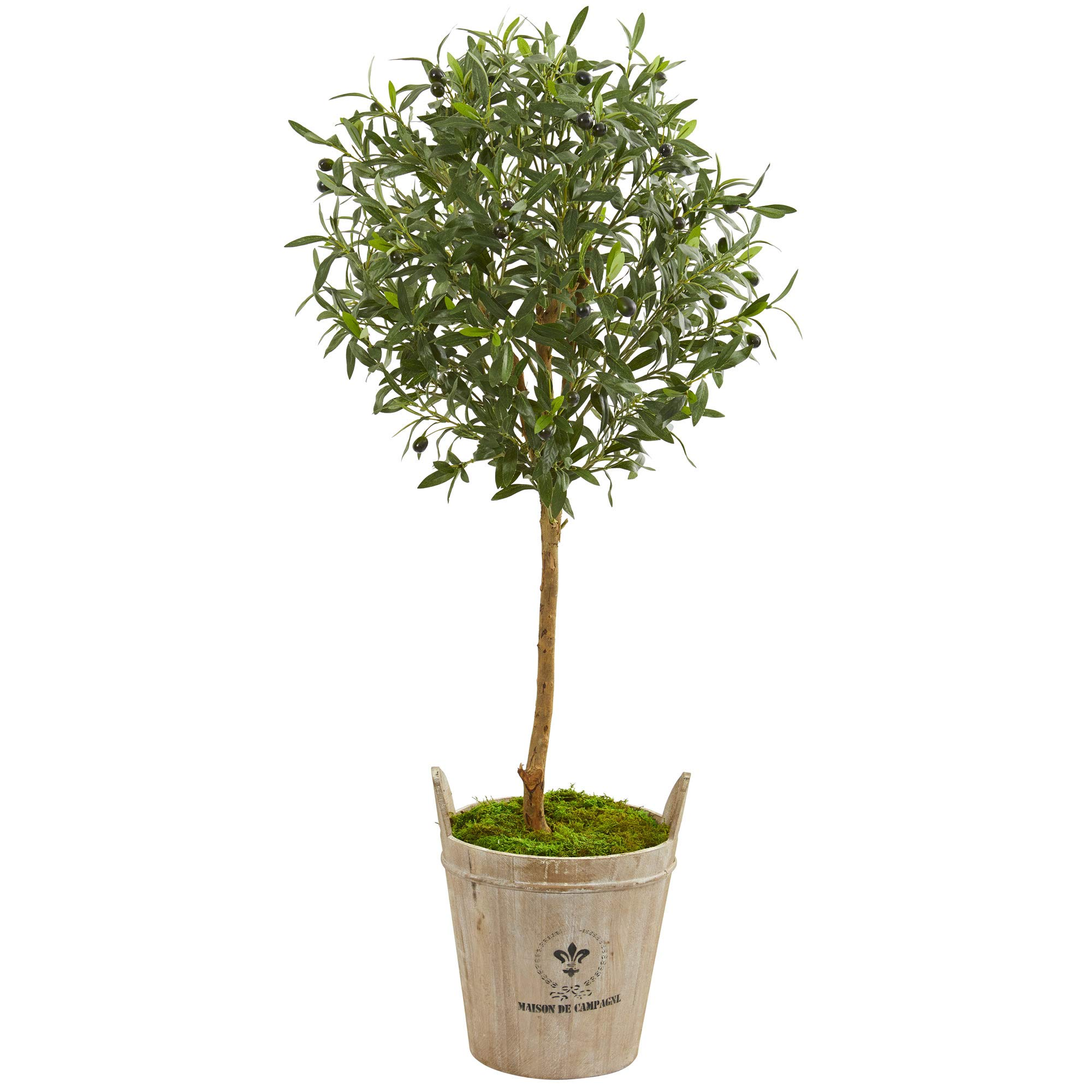 Nearly Natural 9228 46-in. Olive Artificial Farm House Planter Silk Trees Green