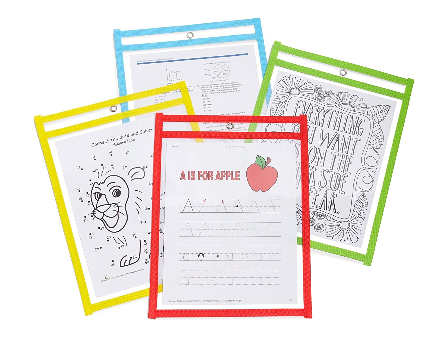 Reusable Dry Erase Pockets - Set of 25, Oversized 10x14, Assorted Colors -  Ideal for classroom, home, or work