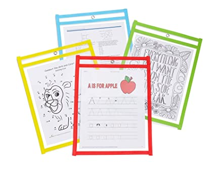 Reusable Dry Erase Pockets Set Of 25 Oversized 10x14 Assorted Colors Ideal For Classroom Home Or Work
