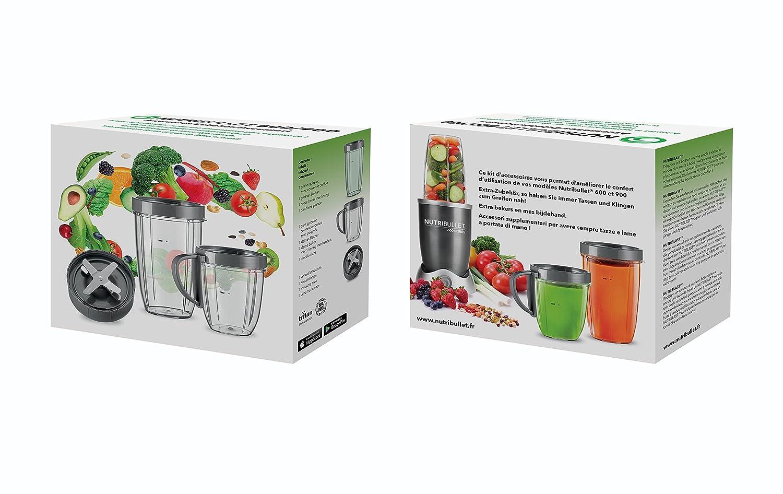 NutriBullet Kit de accesorios para exprimidor de 600 W y 900 W Nutriblast, vasos, tapas y cuchillas: Amazon.es