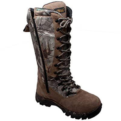 """TECS 15"""" Men's Snakebite Boots, Leather + Suede, Waterproof for Hunting, Fishing, Hiking, Camping or Outdoors, Aggressive Rubber Outsole, Inside Zipper, Camo Laces, 11.5 M US   Boots"""