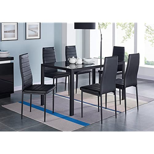8 person dining table fancy ids online pieces modern glass dining table set faxu leather with chairs black person table amazoncom