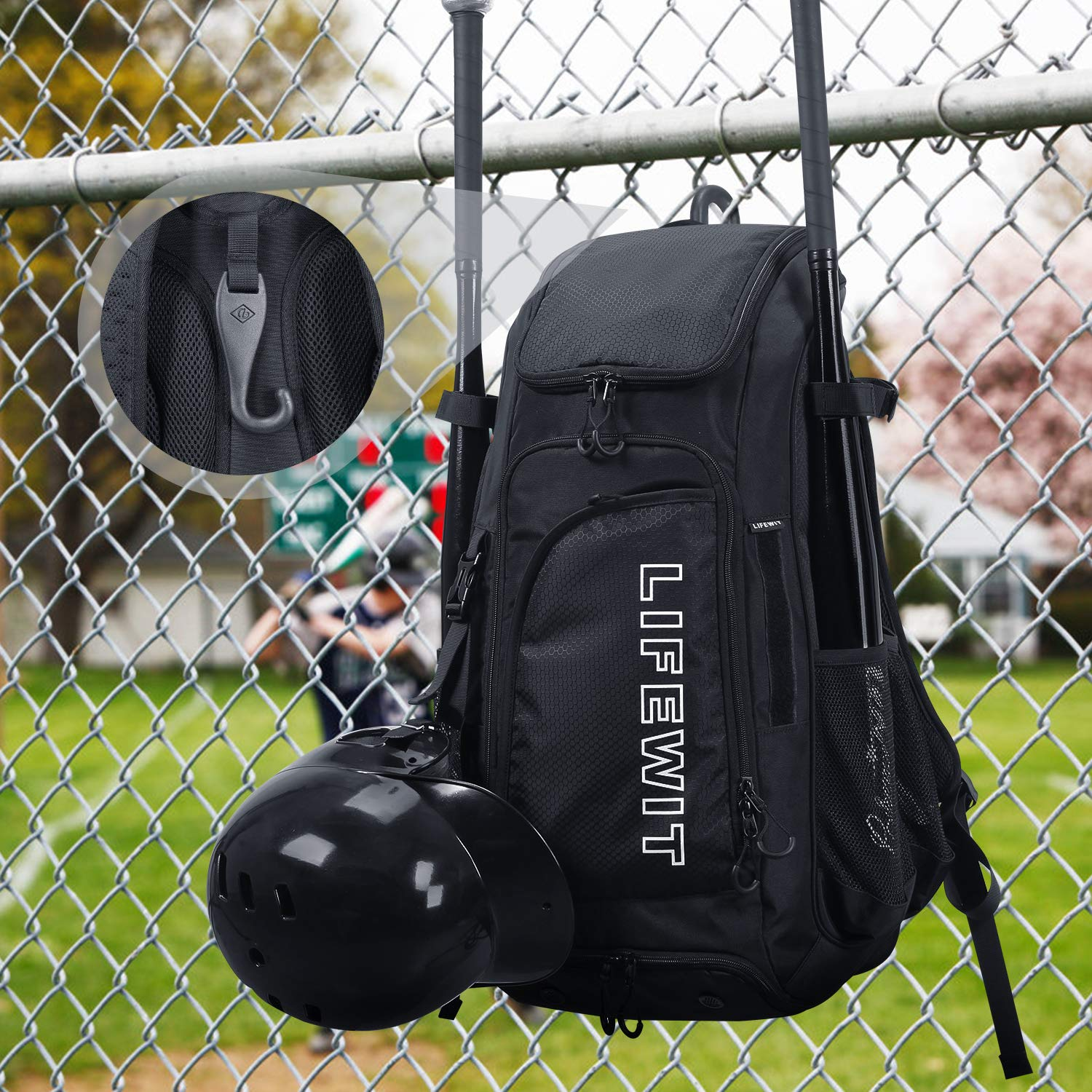 Lifewit Large Baseball Bat Backpack,Youth Softball Bag, T-Ball Equipment & Gear for Mens Adults - Fits 4 Bats, Helmet, Glove - Vented Shoes Compartment, Fence Hook by Lifewit (Image #6)