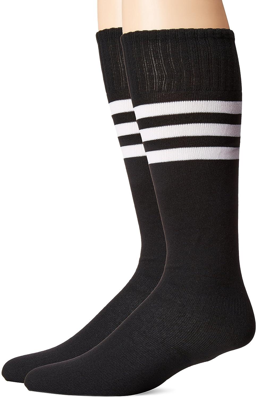 3street ユニセックス ニーハイ トリプルストライプ アスレチック サッカー チューブ ソックス 2 / 6 / 10組 B01GH36D68 Black+White Stripe Black+White Stripe