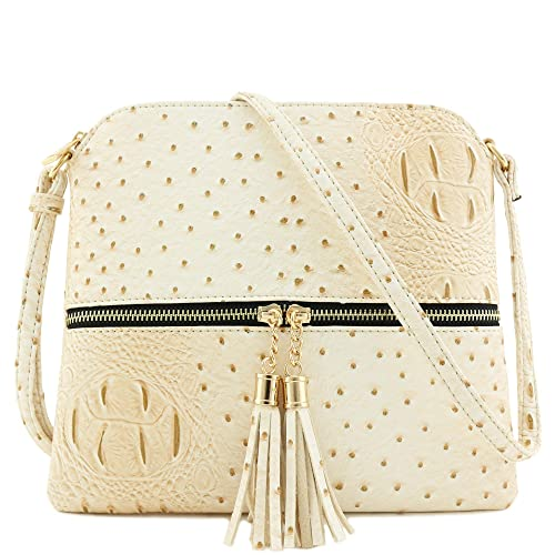 444912e4d09e Faux Ostrich Skin Medium Crossbody Bag with Tassel Beige  Handbags ...