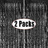 Fecedy 2pcs 3ft x 8.3ft Black Metallic Tinsel Foil Fringe Curtains Photo Booth Props for Birthday Wedding Engagement…