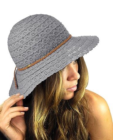 7011903e58276 NYFASHION101 Open Knit Brown Braided Trim Vented Cotton Beach Sun Hat