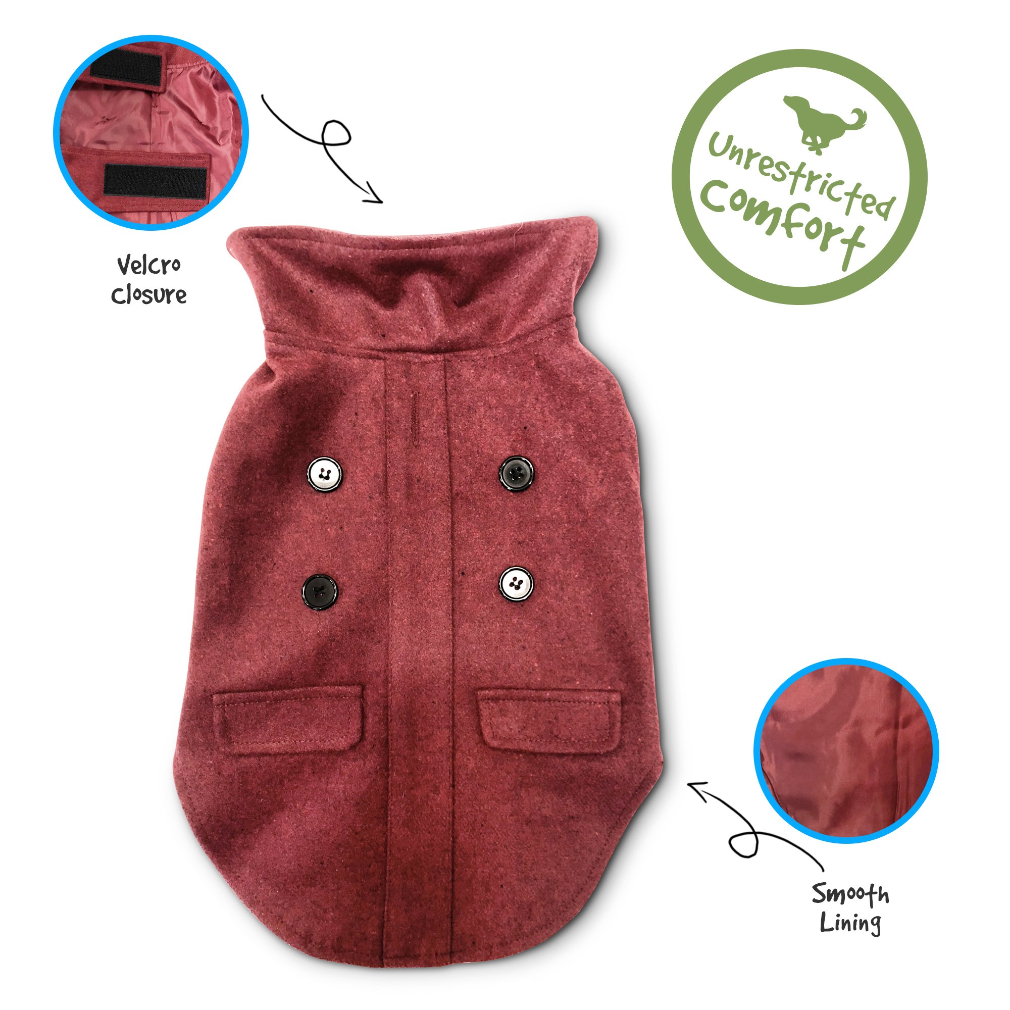 Pet Craft Supply 8991 Pet Coat, Medium, Burgundy