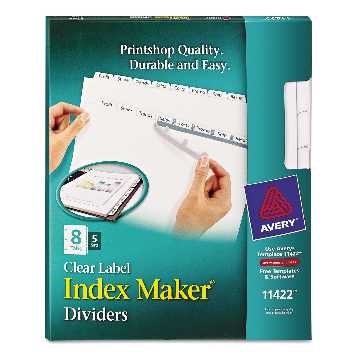 Avery 11422 Print/Apply Clear Label Dividers, White, 8-Tab Set, Letter, 5 Sets