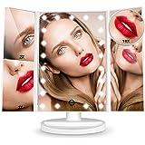 HAMSWAN Espejo de Maquillaje, [Regalos] Espejo de Mesa Tríptico con Aumentos 10X, 3X, 2X y 1X, Espejo Cosmético Pantalla…