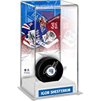 $161 » Igor Shesterkin New York Rangers Autographed Hockey Puck with Deluxe Tall Hockey Puck Case - Autographed NHL Pucks