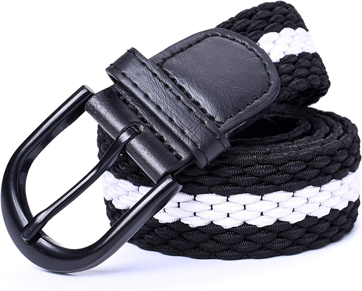 7 Sizes 27 Colors ) Braided Stretch Elastic Belt Pin Oval Solid Black Buckle Leather Loop End Tip Men//Women//Junior