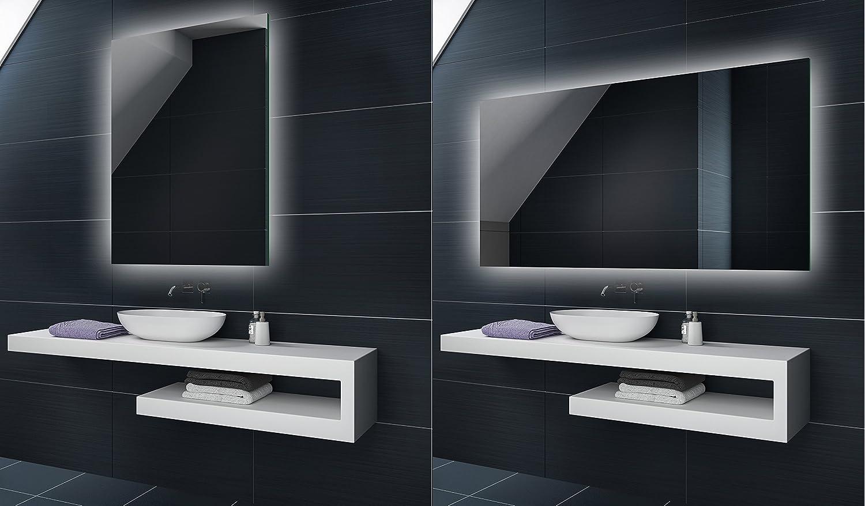 80 cm x 60 - 60 x 80 cm Verticale Horizontale | Illumination LED miroir sur mesure eclairage salle de bain | Mural