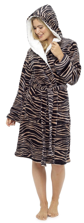 Ladies Flannel Fleece Hooded Dressing Gown Cosy Robe Animal Print Brown Black Beige Mink Leopard Zebra Size UK 8 10 12 14 16 18 20 22