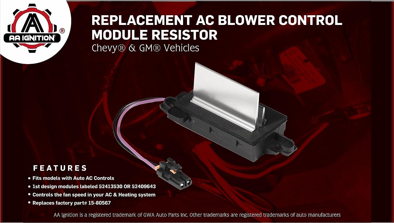 Ac Blower Control Module Replaces 1580567 93803636 1954 Chevy Truck Heater Controls 52413530 89018778 4p1516 Fits Silverado Trailblazer Cadillac Escalade