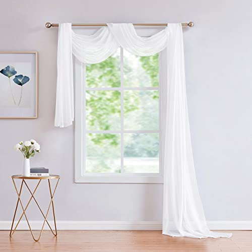 LinenZone Jane – Semi-Sheer Window Scarf 54 x 288 – Elegant Home Decor Window Treatments – Add to Window Curtains for Enhanced Effect 1 Scarf 54 x 288 , White
