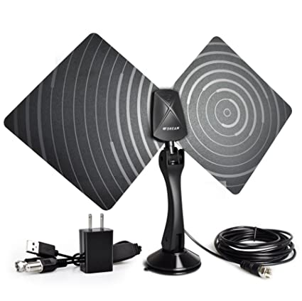 Indoor TV Antenna 50 Mile Range Ultra-Thin,High Performance Coax Cable, With