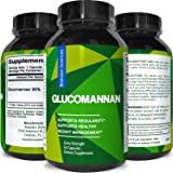 Glucomannan for Weight Loss + Appetite Suppressant + Natural Constipation Relief – Konjac Root Powder Bulk Supplement for Digestive Health – Fast Acting Capsules for Women & Men