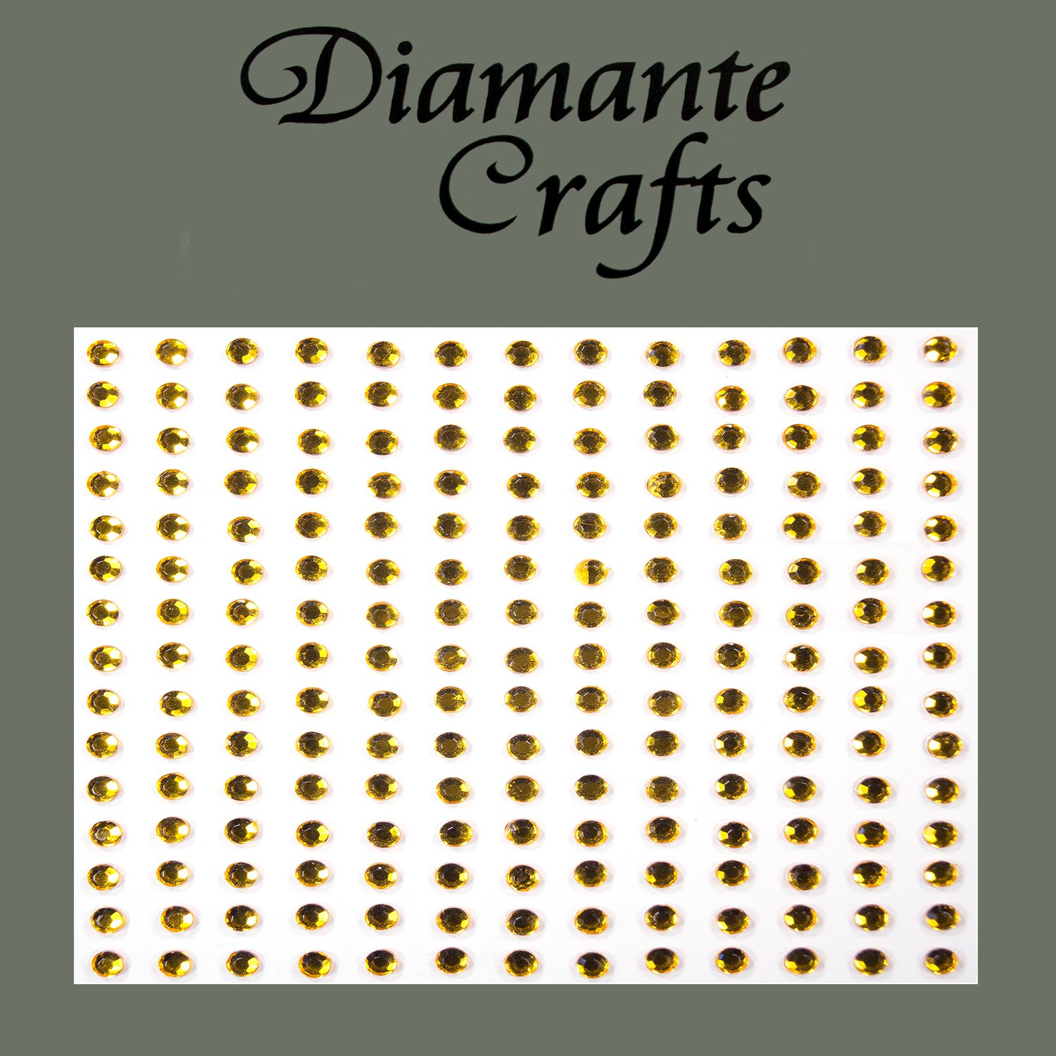 195 x 3mm Gold Diamante Self Adhesive Rhinestone Body Gems - created exclusively for Diamante Crafts