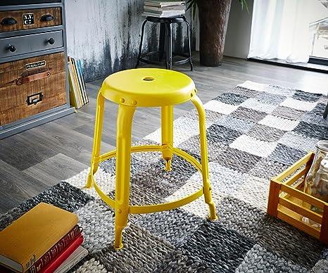 Sgabello dakoi giallo rotondo industrial design con poggiapiedi