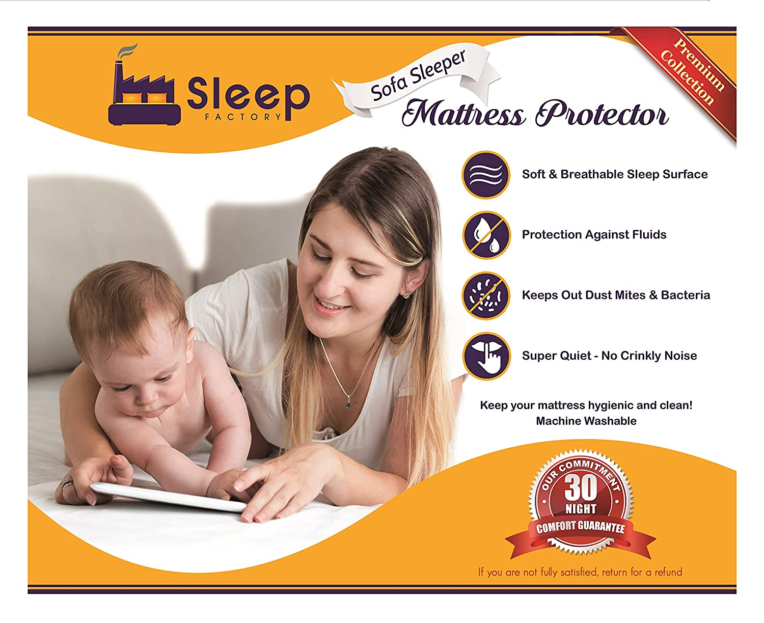 Sleep Factory - Mattress & Sofa Bed Sleeper Protector | Total Safety from Spillage & Dust Mite, Hypoallergenic, Waterproof, Premium 100% Jersey Cotton Top, Cot Size (30x80), 6 Depth, White 6 Depth The Sleep Factory