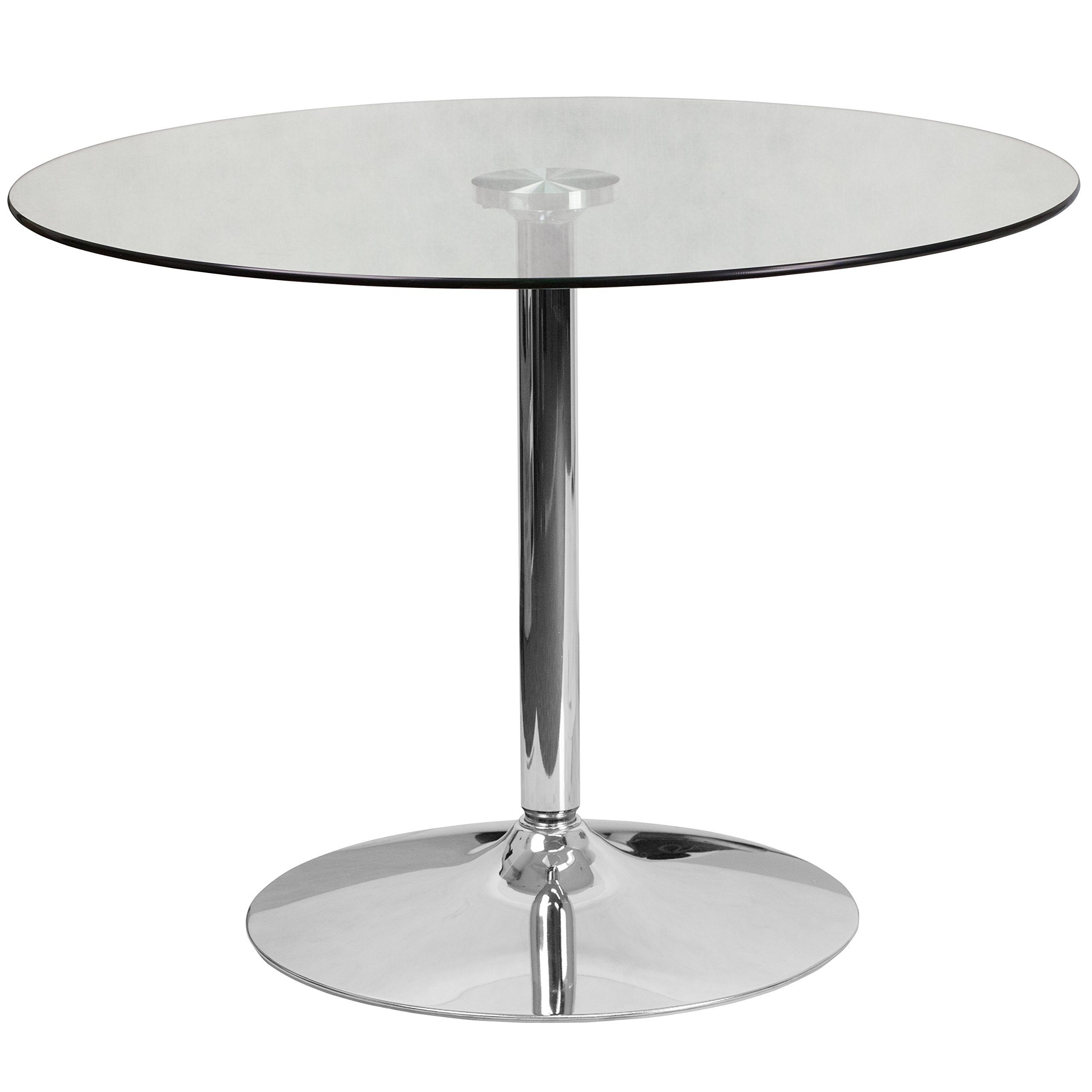 Flash Furniture 39.25'' Round Glass Table with 29''H Chrome Base by Flash Furniture