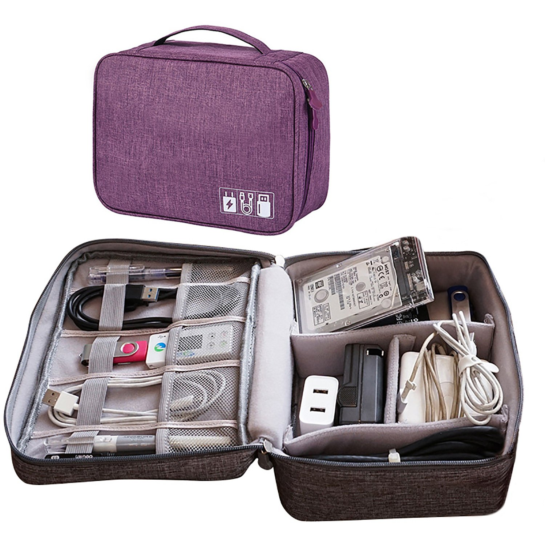 Electronic Organizer Travel Universal Cable Bag (Purple)