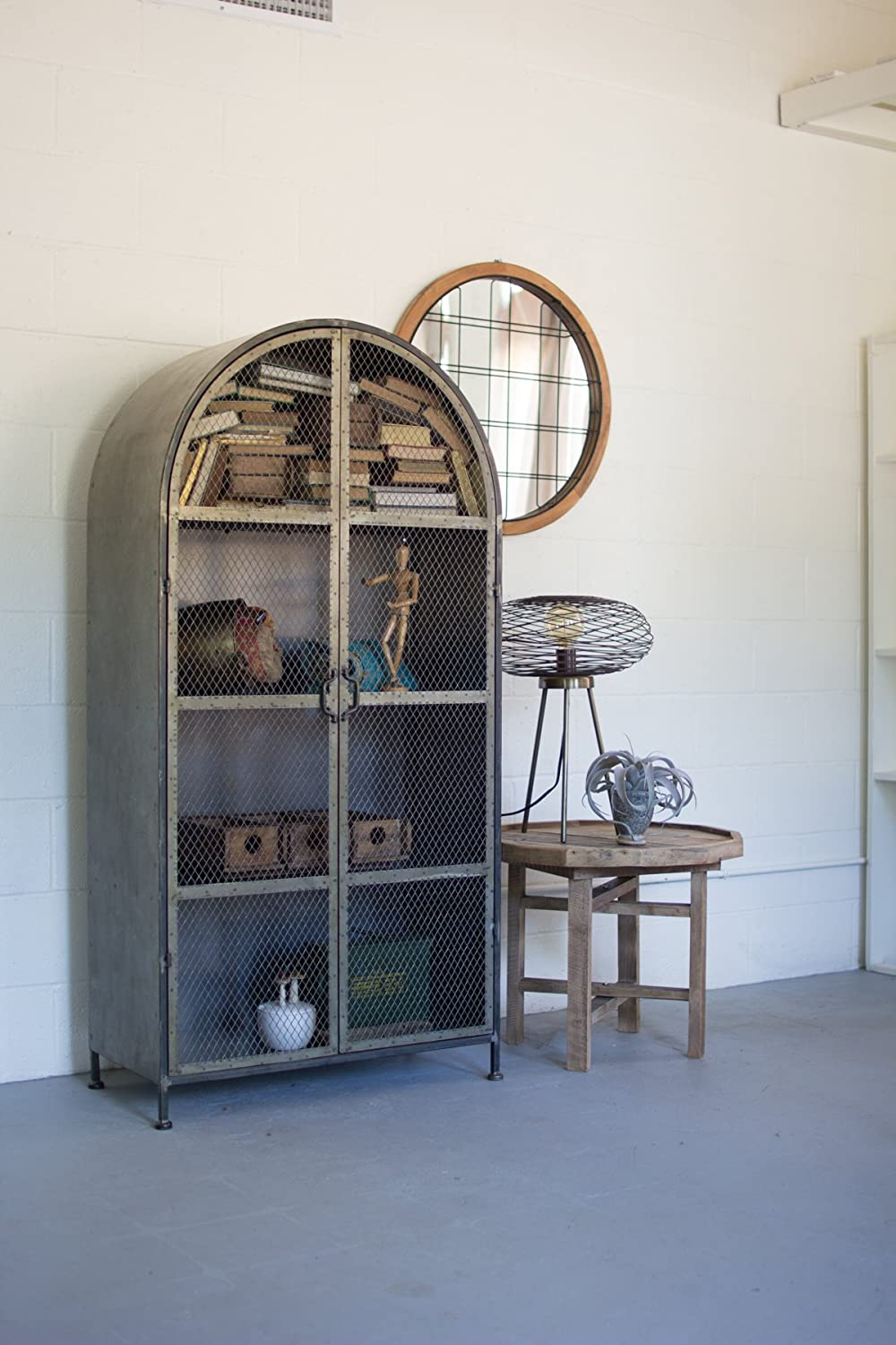 Amazon.com: GwG Outlet Arched Metal Cabinet with Two Wire Mesh Doors ...