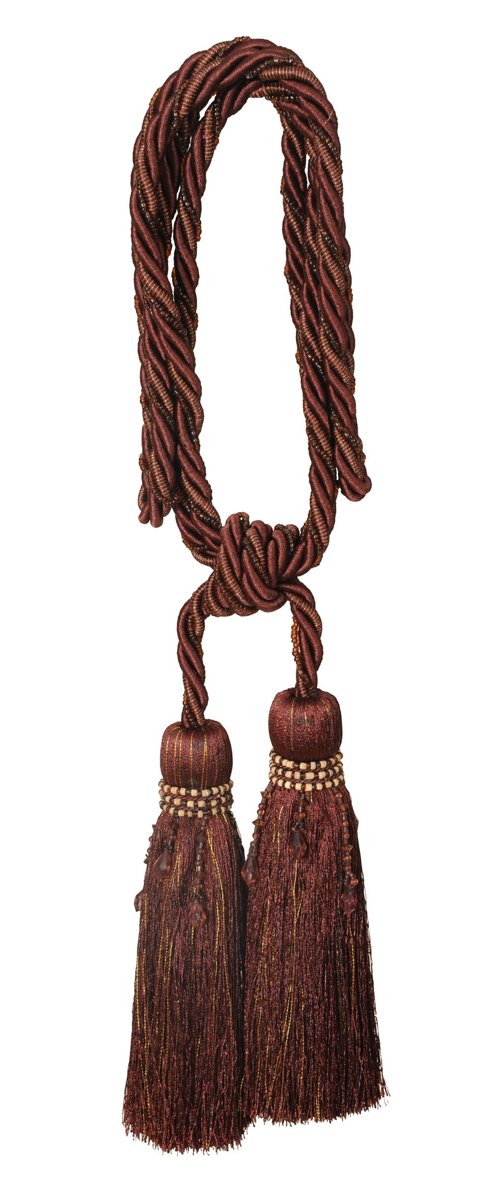 India House 76214 Milano Tieback with 8-Inch Double Tassel and 36-Inch Cord, Mahogany Mix